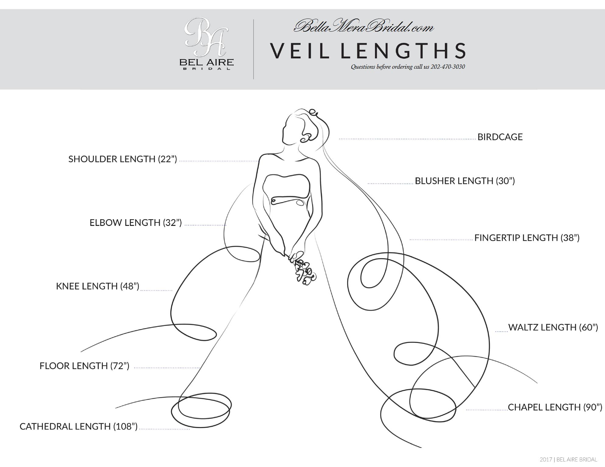 Bel Aire Bridal Wedding Veil Size Chart